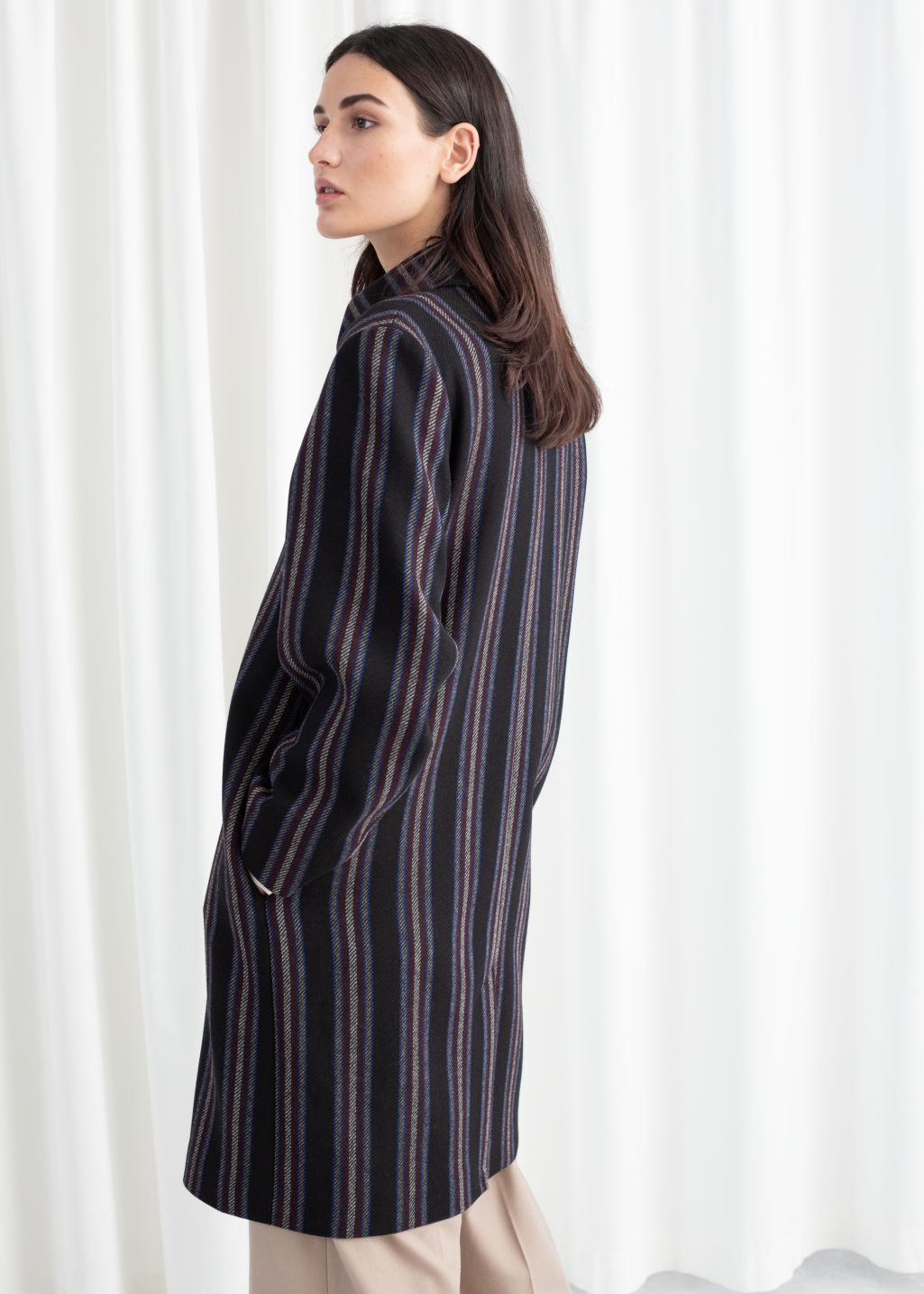 Model back image of Stories wool blend striped coat in black