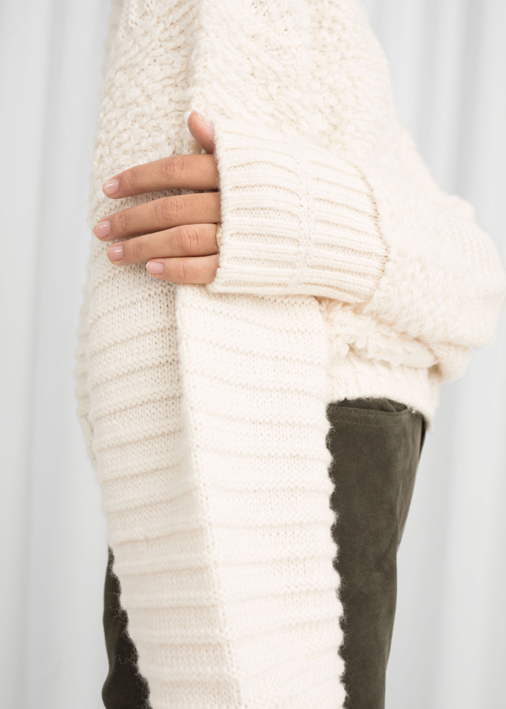 Model back image of Stories mixed texture wool sweater in white