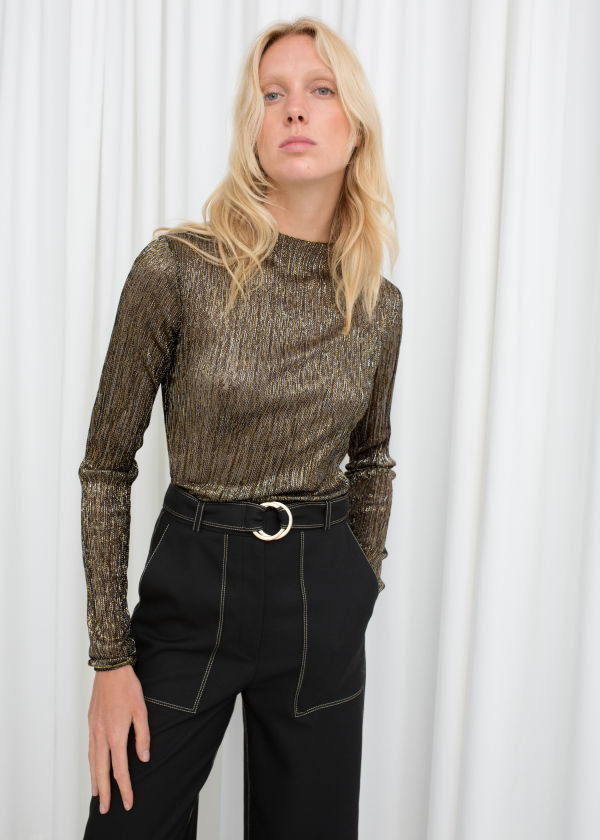 Metallic Plissé Pleated Top