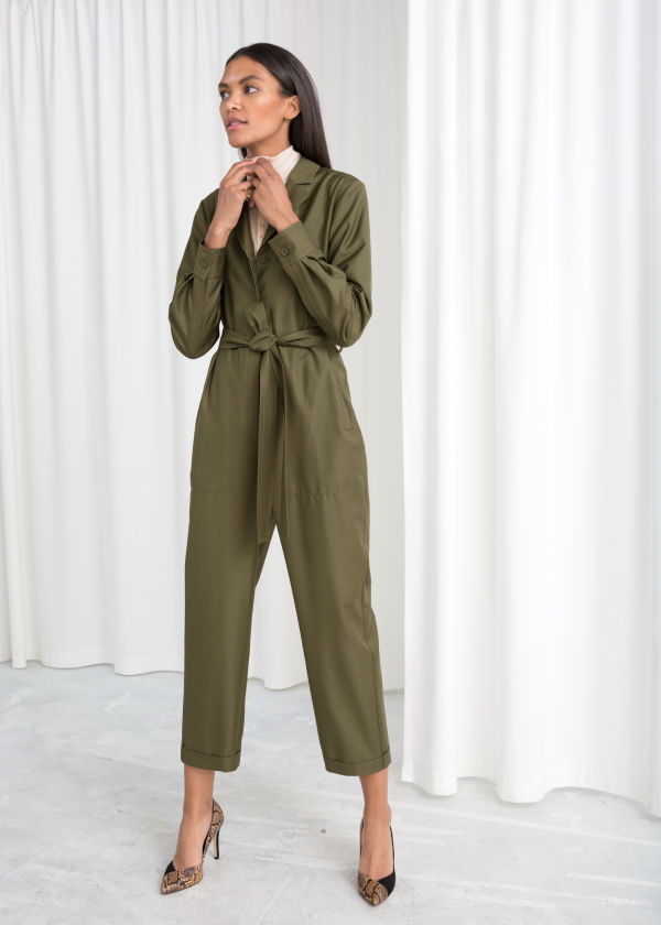 Belted Wool Blend Boilersuit