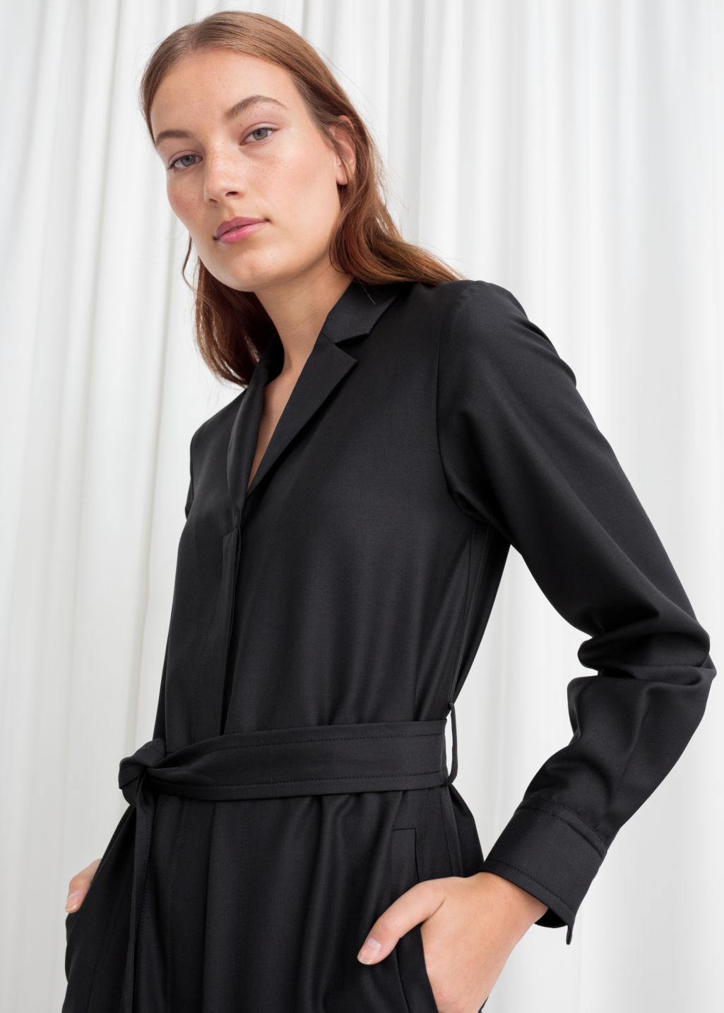Model back image of Stories belted wool blend boilersuit  in black