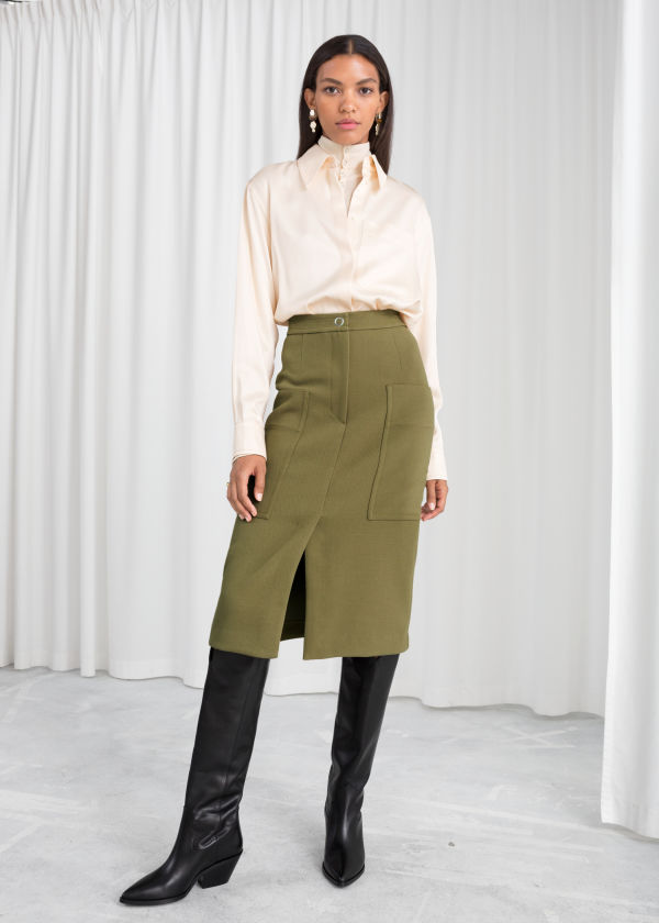 High Waisted Workwear Skirt