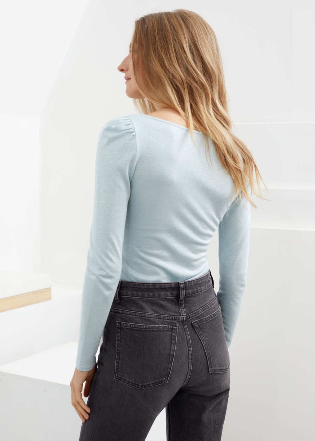 Model back image of Stories square neck velvet top in turquoise