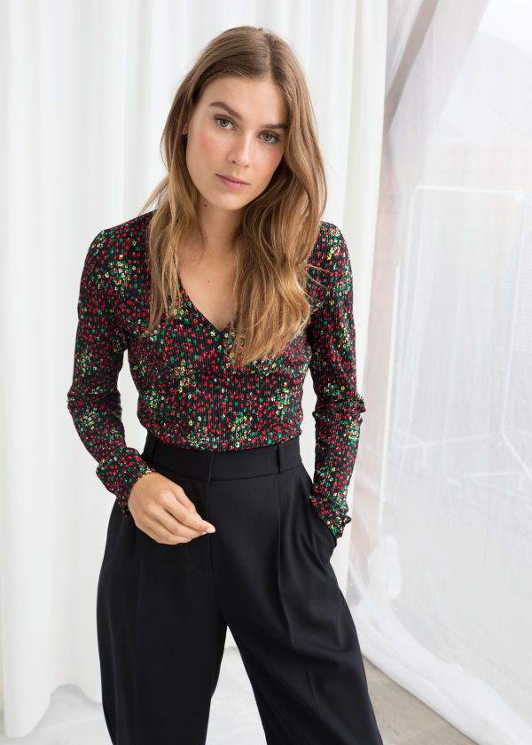 Floral Plissé Pleated Top