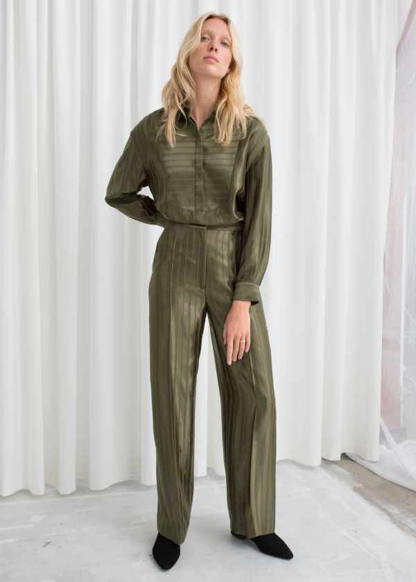 Tailored Jacquard Stripe Trousers
