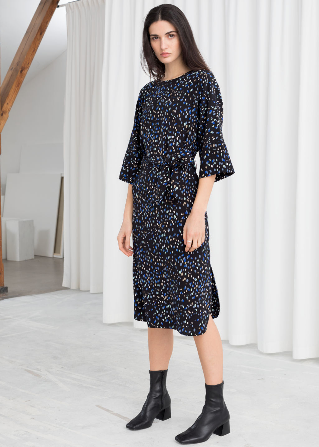 04f4db8072f1 Belted Polka Dot Midi Dress - Polka Dot - Midi dresses -   Other Stories