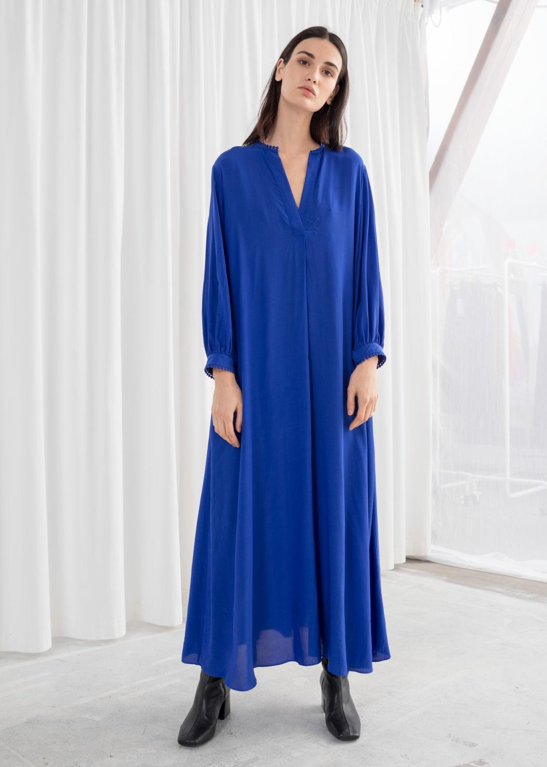 716994aac6 V Neck Kaftan Maxi Dress Blue Dresses Other Stories