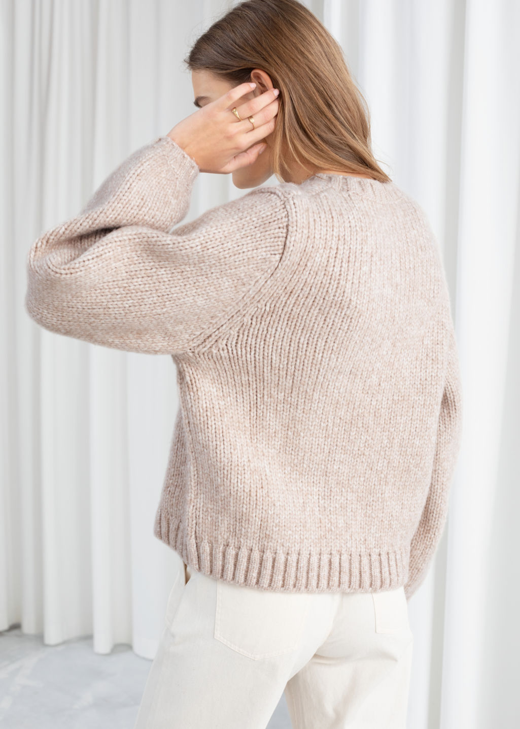Model back image of Stories cropped wool blend sweater in beige