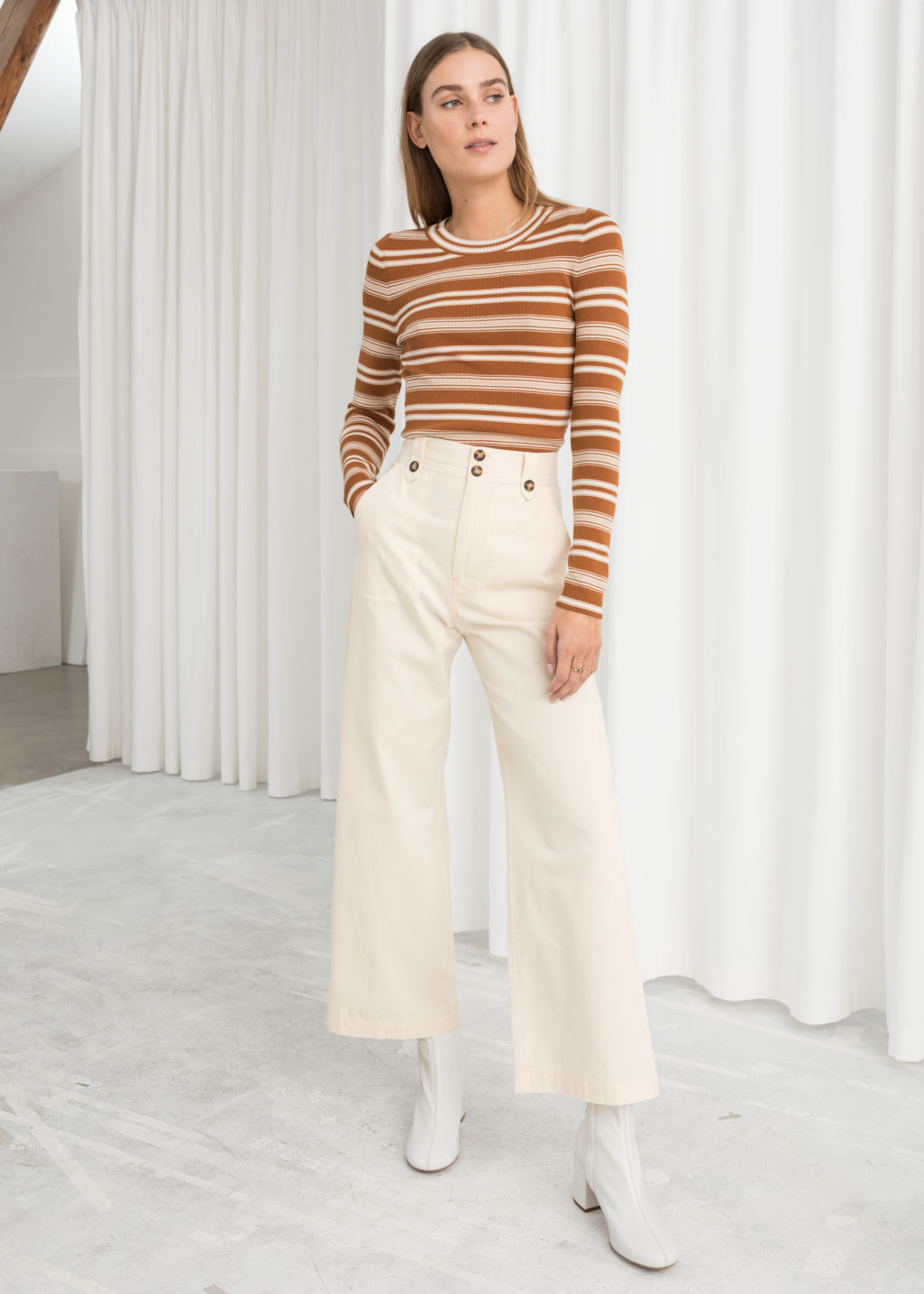 Model front image of Stories cotton twill culottes in white