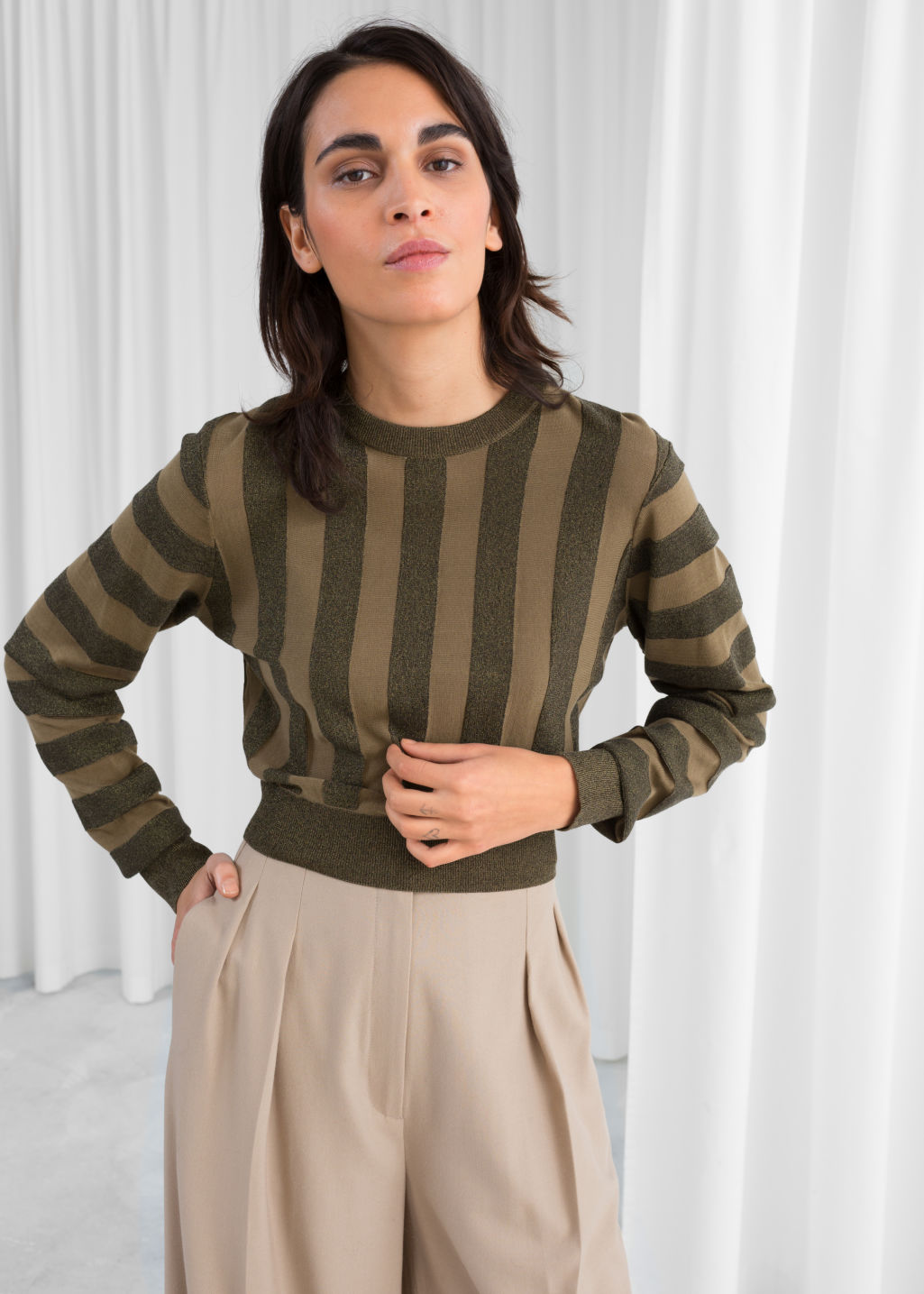 Model front image of Stories cropped glitter stripe sweater in green