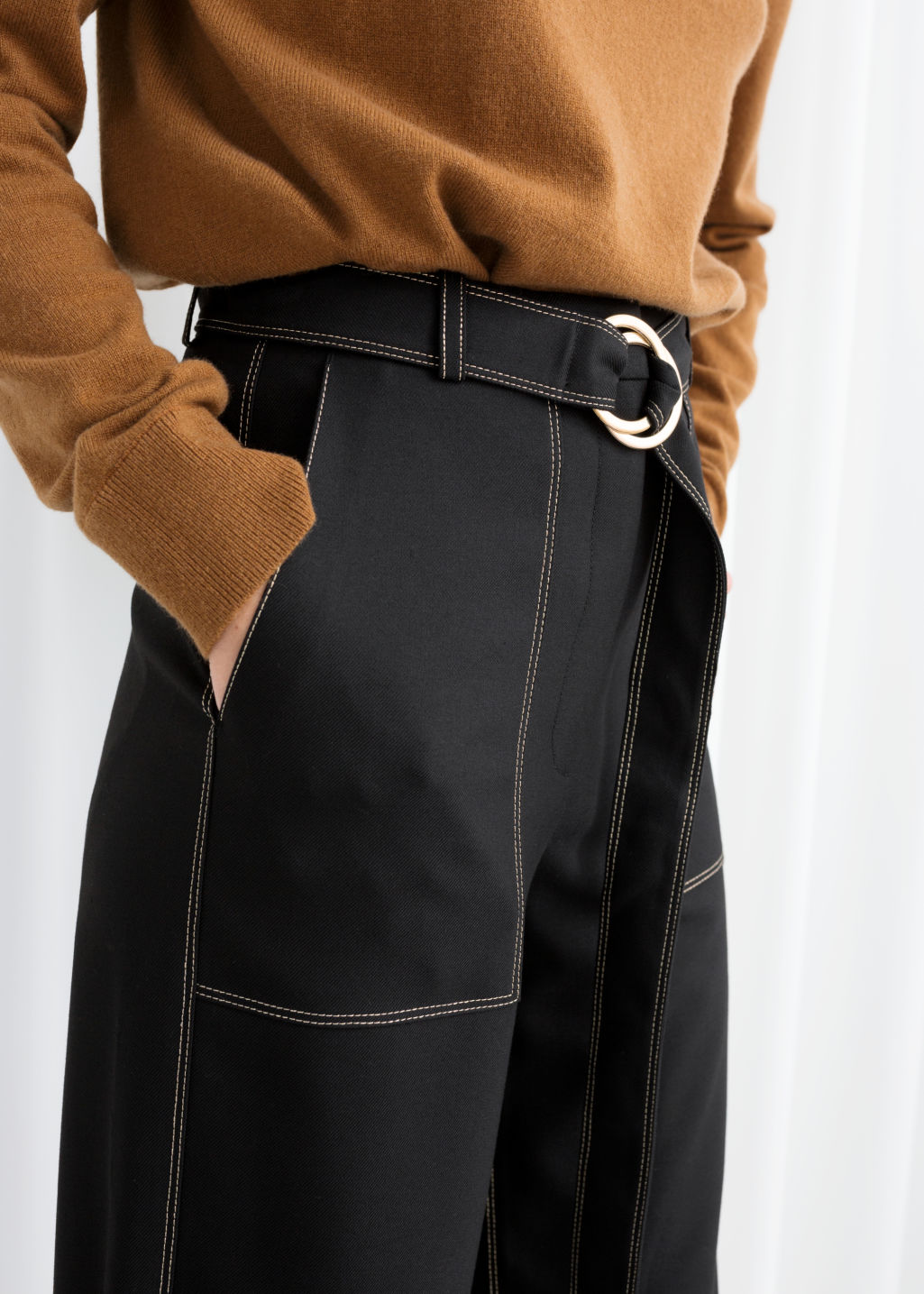 Model back image of Stories belted workwear trousers in black