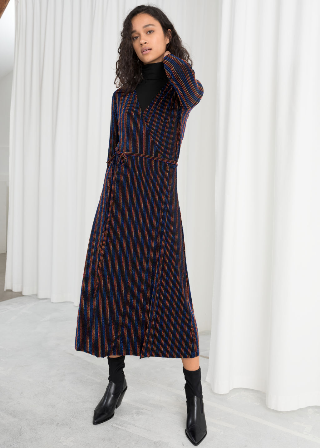 Model front image of Stories glitter pinstripe wrap midi dress in black