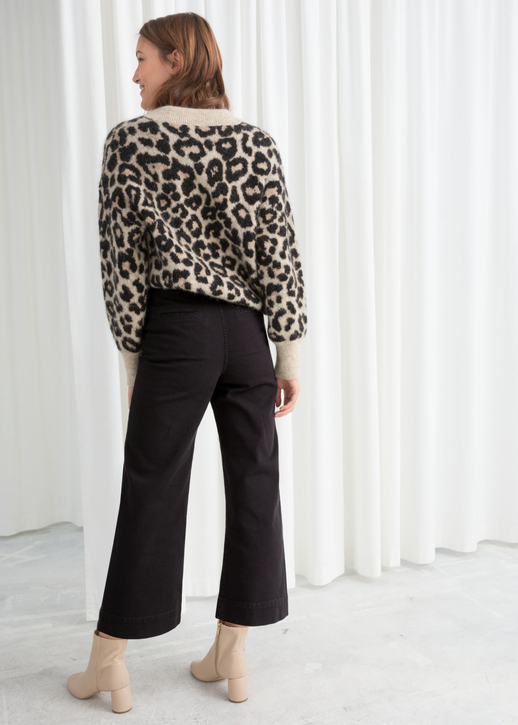 Model back image of Stories twill culotte trousers in black