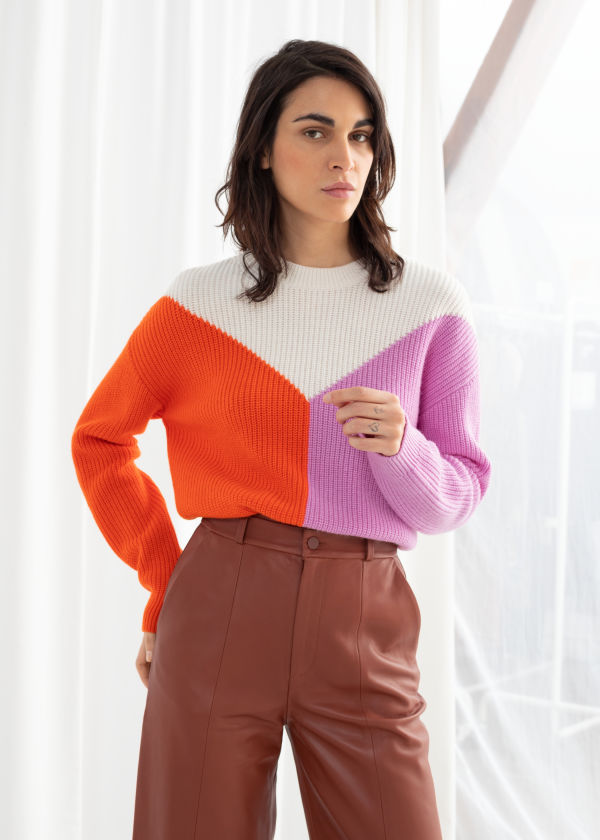 Wool Blend Colour Block Sweater
