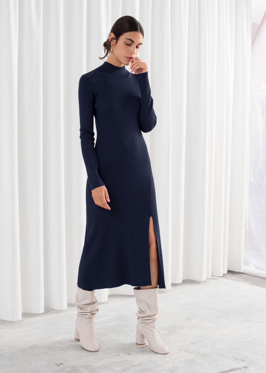 Model front image of Stories ribbed turtleneck midi dress  in blue