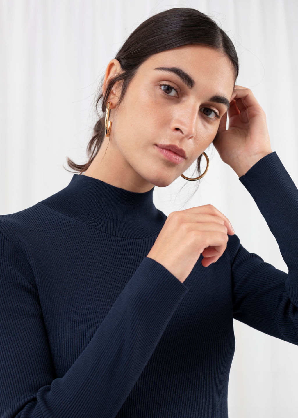 Model back image of Stories ribbed turtleneck midi dress  in blue