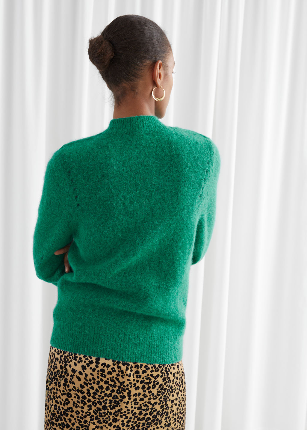 Model back image of Stories structured alpaca wool blend sweater in green