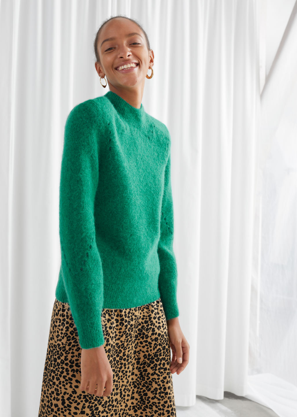 Model front image of Stories structured alpaca wool blend sweater in green
