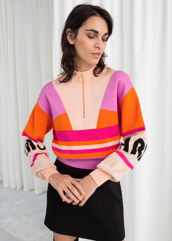 Colour Block Zip Pullover
