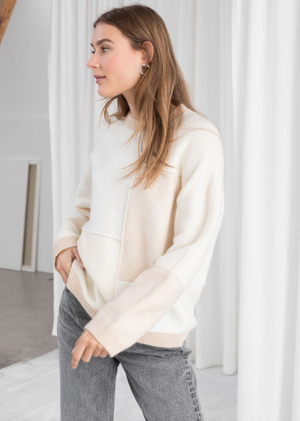 Oversized Cotton Blend Patchwork Sweater