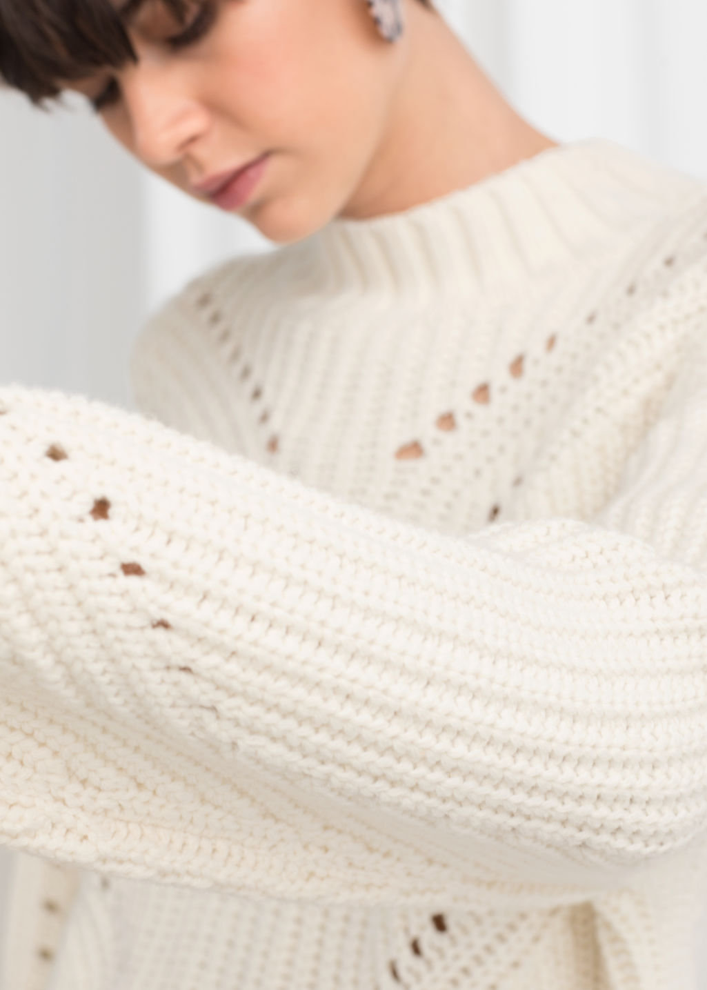 Model back image of Stories boxy cable knit sweater in white