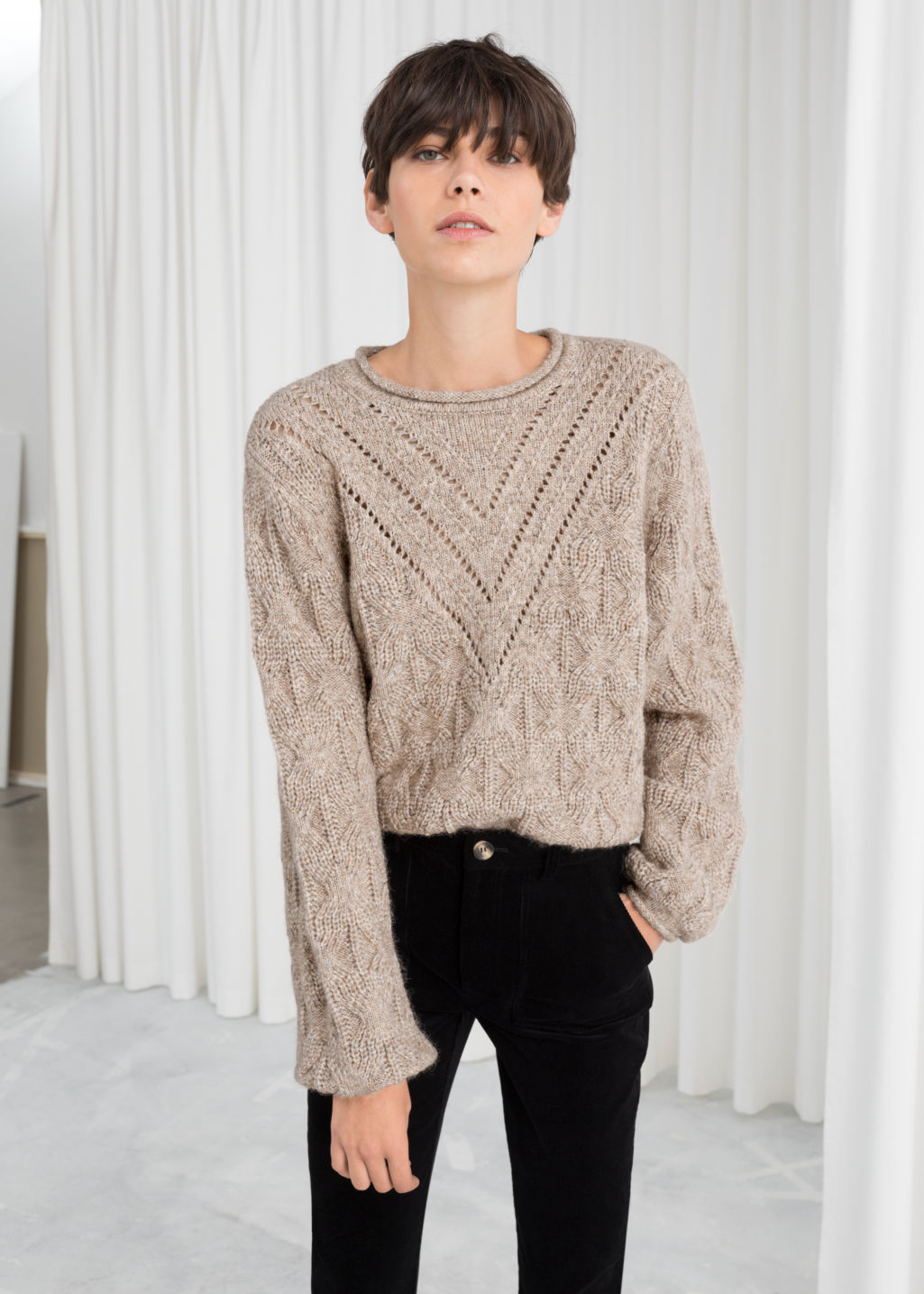 Model front image of Stories wool blend puff sleeve sweater in beige
