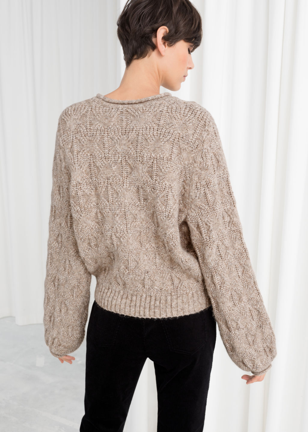 Model back image of Stories wool blend puff sleeve sweater in beige