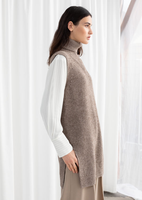 Cotton Blend Knit Turtleneck Vest