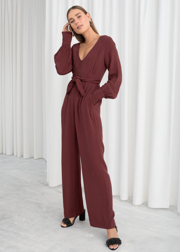 Plunging Belted Jumpsuit