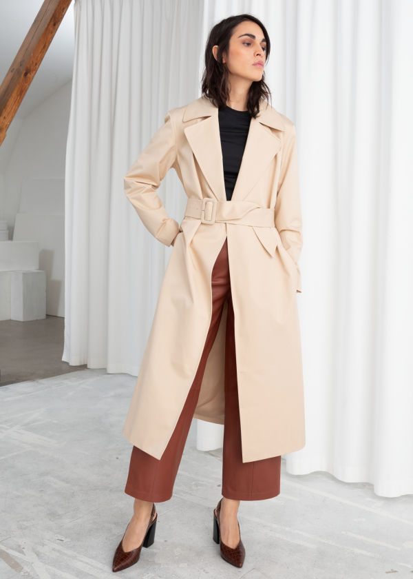 Belted Cotton Twill Trenchcoat