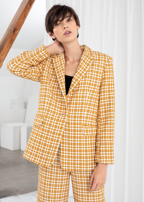 Cross Stitch Plaid Blazer