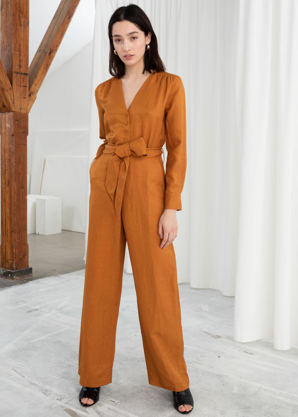 53c15fa711 Belted Linen Blend Jumpsuit - Tan - Jumpsuits   Playsuits -   Other ...