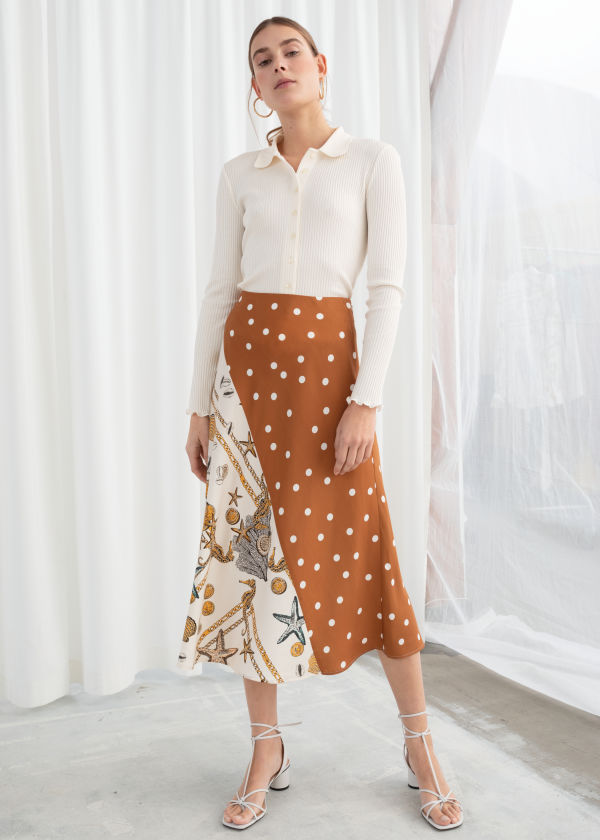 01db94e01ca0 Polka Dot Seashell Satin Midi Skirt ...