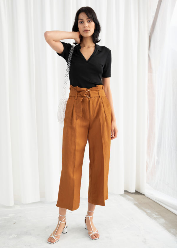 Cropped Paperbag Waist Linen Blend Trousers