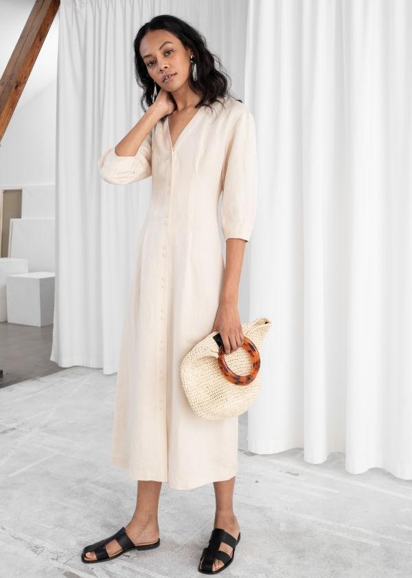 abaeee1a25 Linen Blend Midi Dress ...