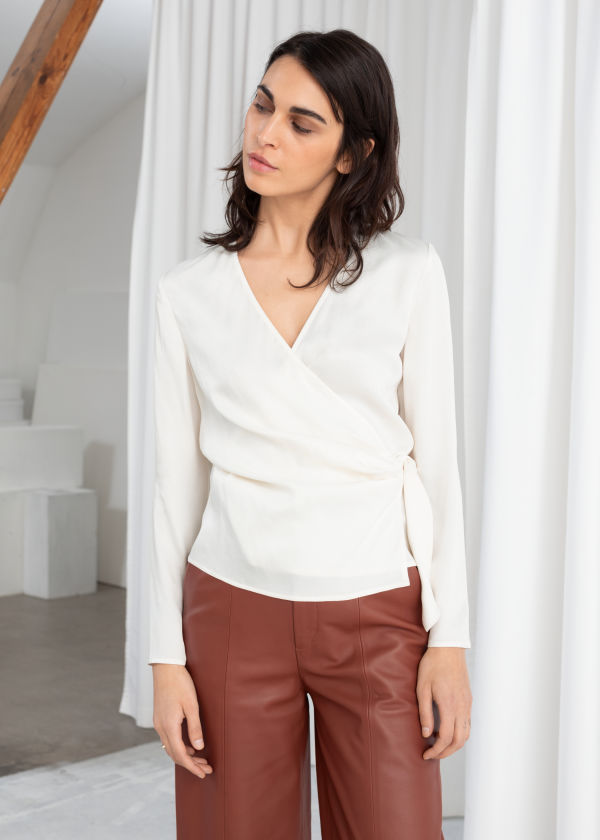 Side Tie Satin Blouse