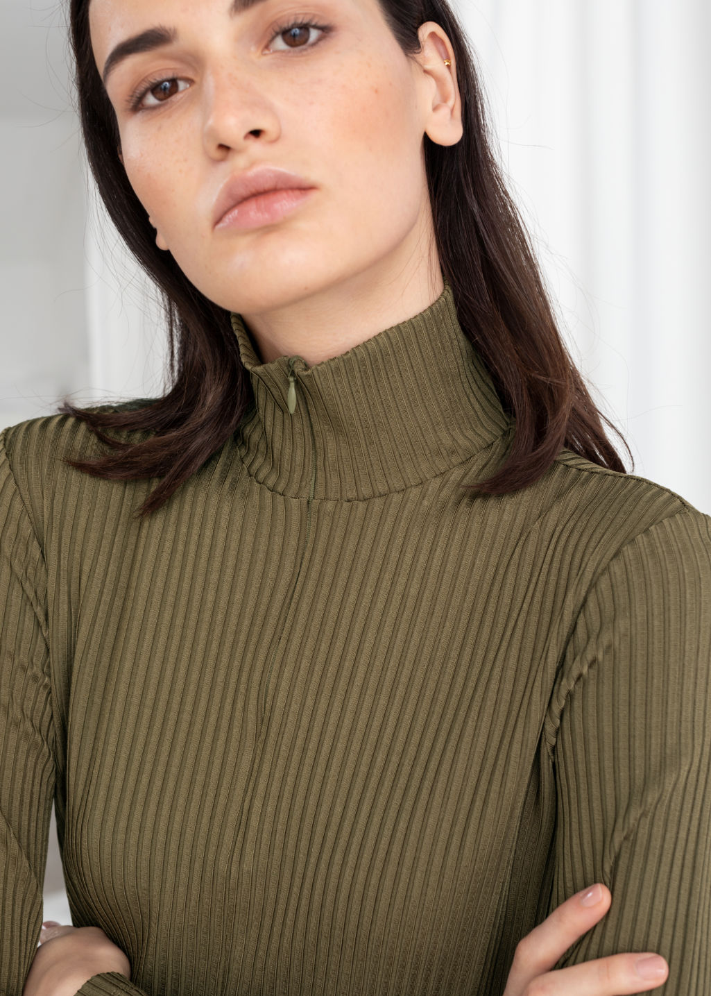 Model back image of Stories ribbed turtleneck midi dress in green