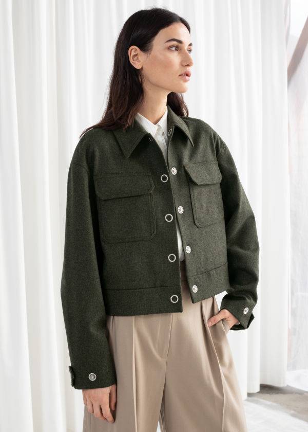 Cropped Wool Blend Workwear Jacket