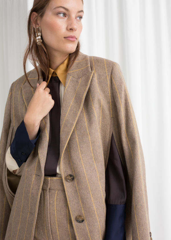 Striped Wool Blend Cape Blazer