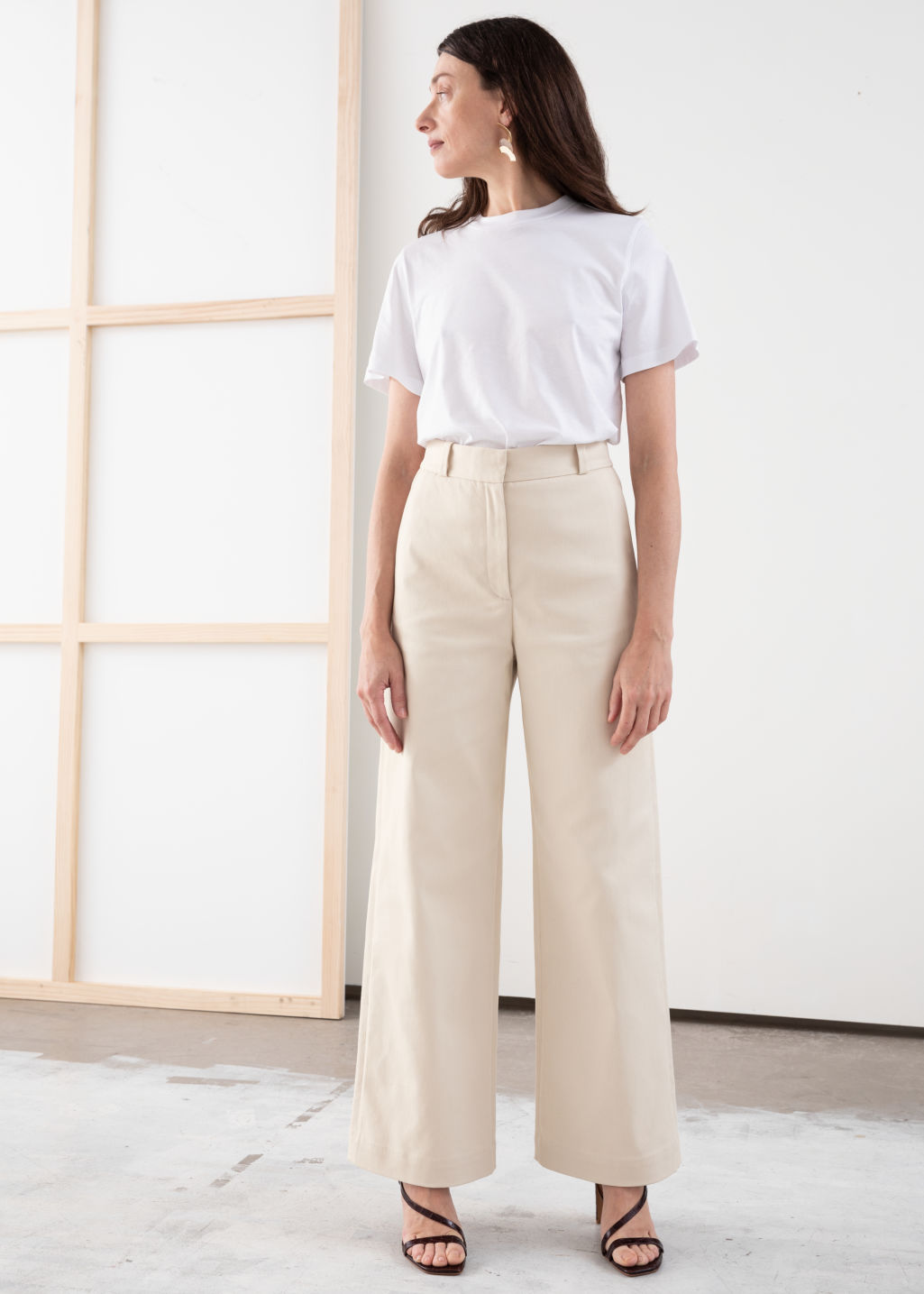 Model front image of Stories stretch cotton culotte trousers in beige