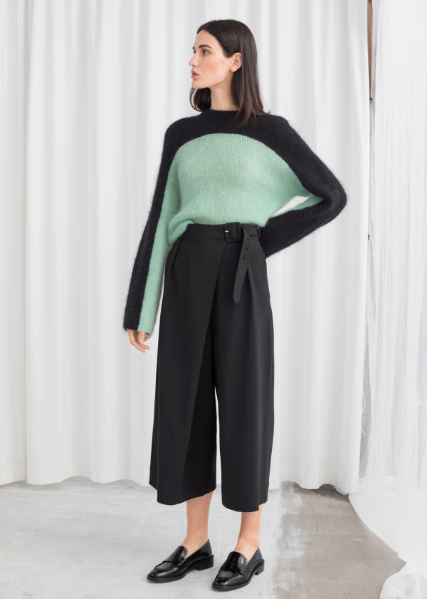 Belted Stretch Wool Culottes