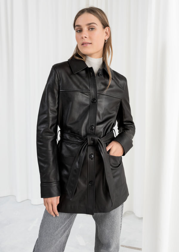a98574ec1fb Belted Leather Trench Belted Leather Trench