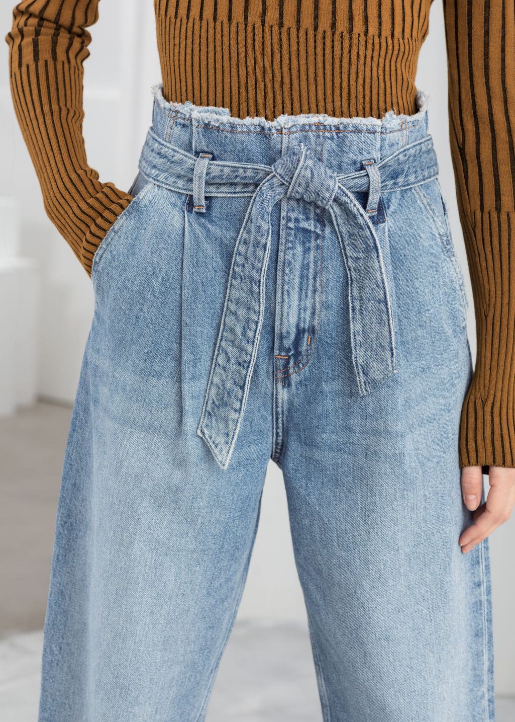 High Belted Organic Cotton Jeans Light Blue Jeans & Other Stories
