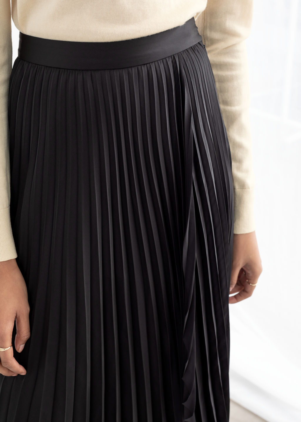 Model back image of Stories pleated wrap midi skirt in black