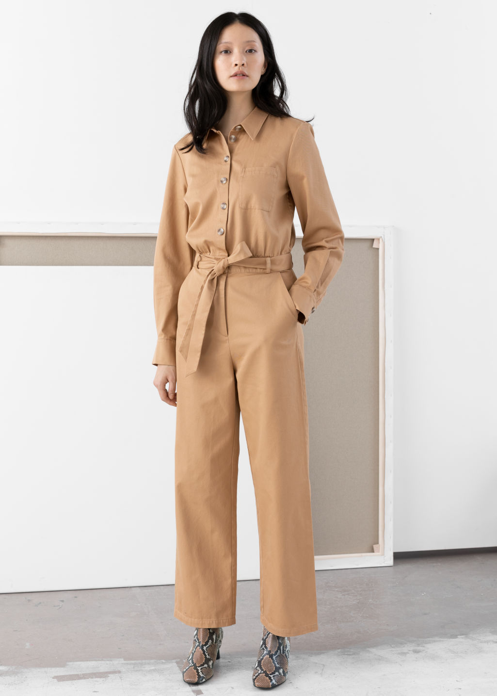 02d9a2c1dfeb Belted Cotton Boilersuit - Beige - Jumpsuits   Playsuits -   Other Stories