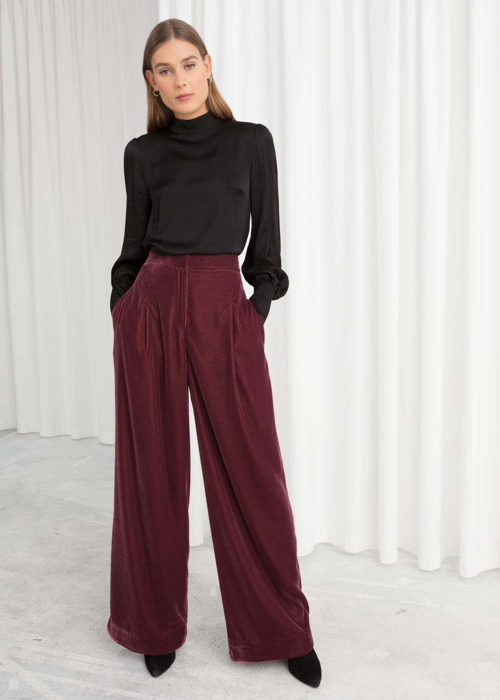 Model front image of Stories high waisted velvet trousers in red