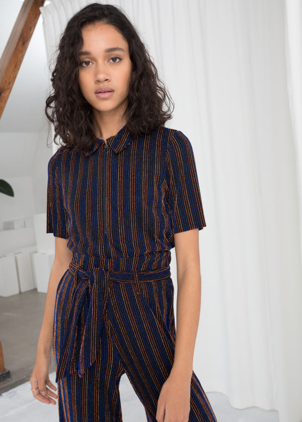 Glitter Stripe Polo Top