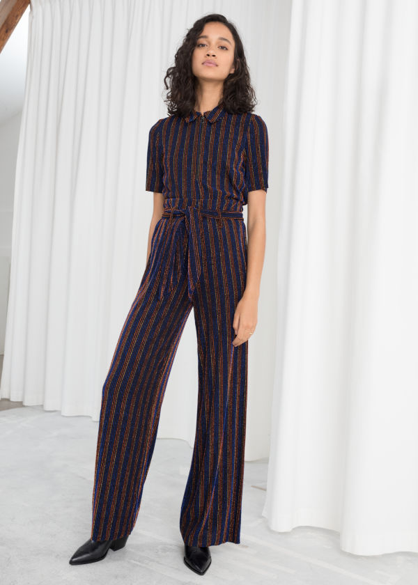 Glitter Stripe Belted Pants