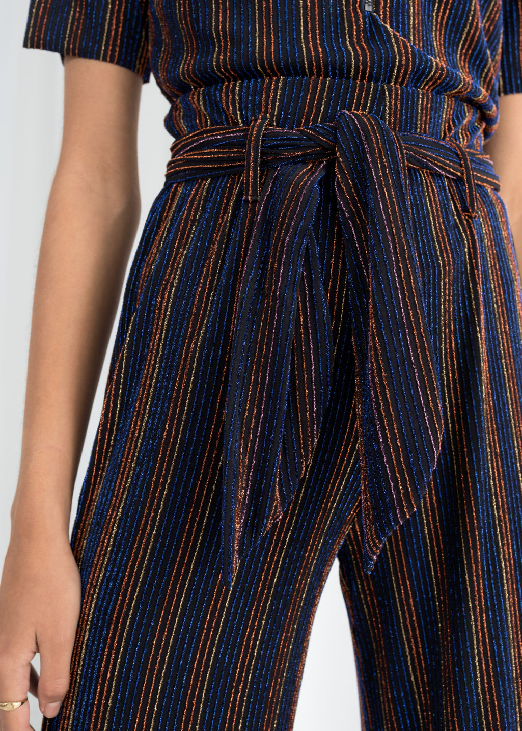 Model front image of Stories glitter stripe belted trousers in black