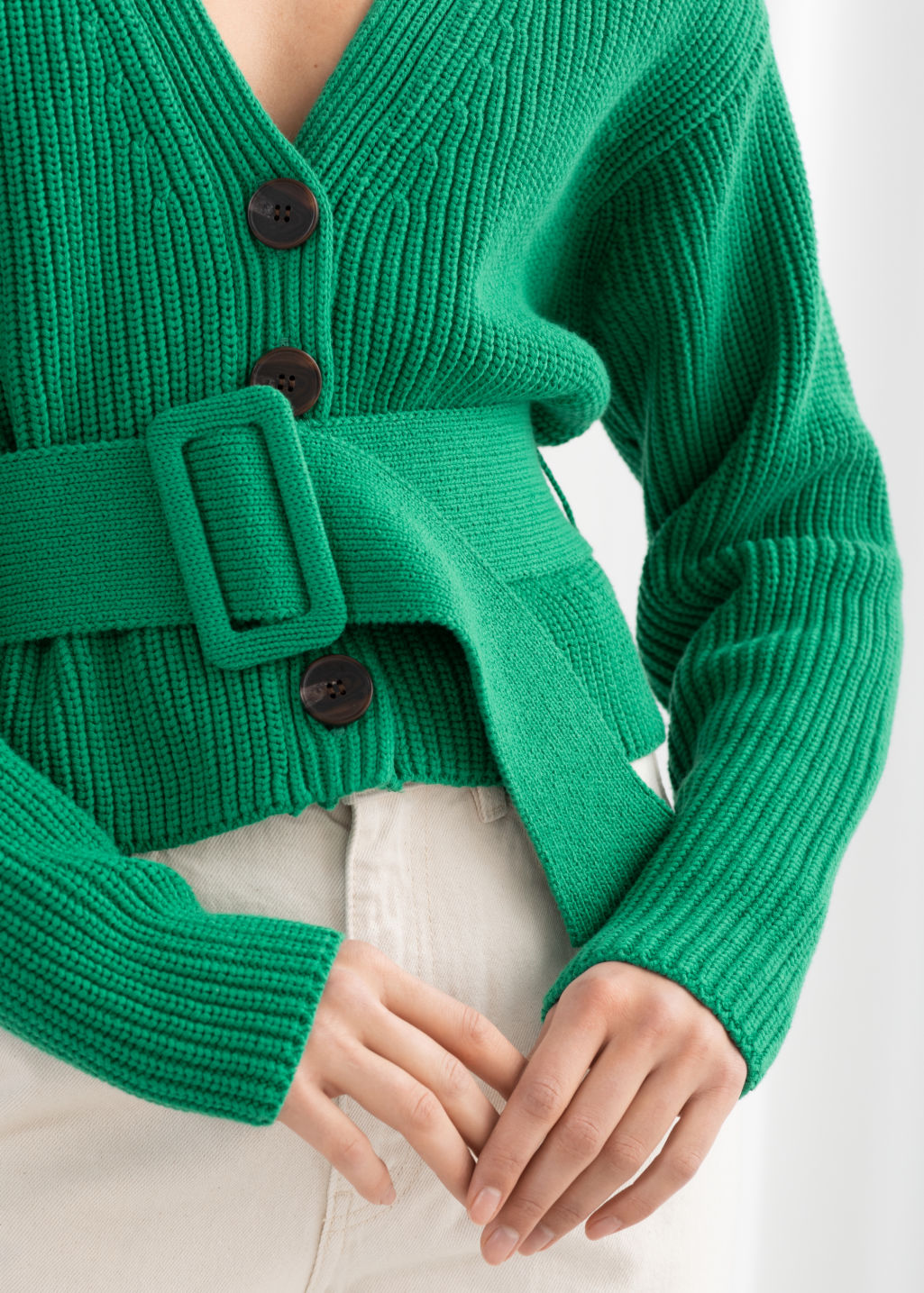 Model back image of Stories belted v-neck cotton cardigan in green